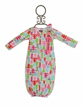 Mud Pie Christmas Tree Gown with Santa Pacy Clip