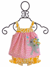 Mud Pie Elephant All In One Dress (Size 9/12 Mos)