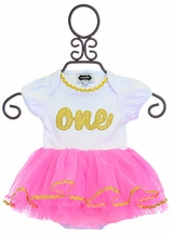 Mud Pie First Birthday Tutu Outfit Pink and Gold