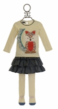Mud Pie Fox Top and Skirt with Tights for Girls (12/18Mos,3T,5T)