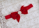 Mud Pie Girls Headband with Red Velvet Bow