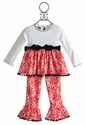 Mud Pie Girls Holiday Outfit Red Damask