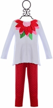 Mud Pie Girls Tunic and Leggings with Poinsettia