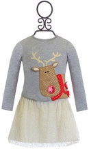 Mud Pie Girls Tutu Skirt Set with Reindeer (Size 18Mos)