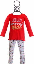 Mud Pie Holiday Tunic Set for Girls in Red (2T & 4T)