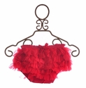 Mud Pie Infant Diaper Cover Red Chiffon Ruffles