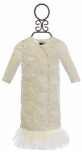Mud Pie Infant Gown with Rosettes in Ivory