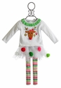 Mud Pie Little Girls Holiday Tutu Set with Reindeer