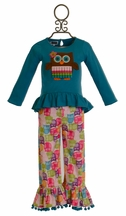 Mud Pie Owl Pant Set for Girls (4T & 5T)