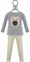 Mud Pie Owl Tunic Set for Girls in Gray (Size 2T)