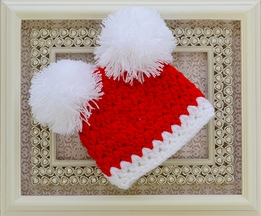 Mud Pie Pom Pom Hat in Red and White