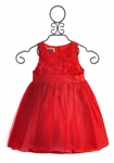 Mud Pie Red Rosette Holiday Dress for Girls (12-18 Mos, 3T, 4T)