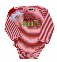 Mud Pie Santa Favorite Romper and Hat Bow (Size 0-6Mos)
