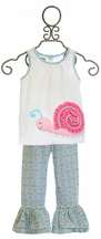 Mud Pie Snail Top with Ruffle Pants