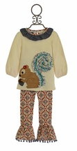 Mud Pie Squirrel Tunic Set for Girls (Size 12/18Mos)