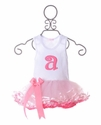 Mud Pie White with Pink Initial Girls Tutu Dress