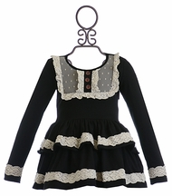 Mustard Pie Black Harper Top with Lace (12Mos & 3T)