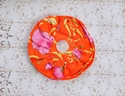 Mustard Pie Circle Rosette Pin in Holly Orange