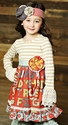 Mustard Pie Clover Twirl Dress for Girls in Cimson Alpha