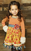 Mustard Pie Clover Twirl Dress in Mustard Crimson Floral (18Mos,6X,12)
