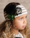Mustard Pie Cream Stripe Girls Headband in Flora