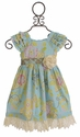 Mustard Pie Delphine Party Dress for Girls in Spa Blue (18Mos, 2T,4)