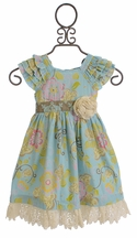 Mustard Pie Delphine Party Dress for Girls in Spa Blue (18 Mos & 2T)
