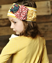 Mustard Pie Flora Band for Girls in Mustard Vanilla Stripes (Size XS 12/24Mos)