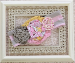 Mustard Pie Flora Girls Headband in Sweet Pink (XS 12/24Mos & SM 2T-4T)