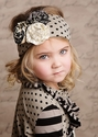 Mustard Pie Flora Headband Black Dot with Flowers