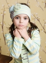 Mustard Pie Flora Headband for Girls Lime Stripe