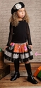 Mustard Pie Girls Ella Skirt in Black Holly Print