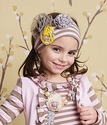 Mustard Pie Girls Flora Headband Pink and Brown Stripe