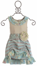 Mustard Pie Girls Flora Tunic in Spa Blue (Size 12Mos)