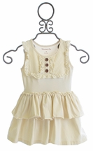 Mustard Pie Girls Harper Peplum Tank in Vanilla Cream (Size 12Mos)