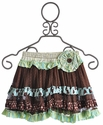 Mustard Pie Girls Kensington Skirt Brown with Turquoise