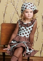 Mustard Pie Girls Petunia Dress in Brown Polka Dots