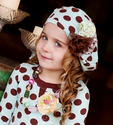 Mustard Pie Girls Polka Dot Gretchen Hat with Flowers
