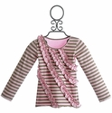 Mustard Pie Girls Rowan Tee Pink Stripe and Ruffle