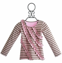 Mustard Pie Girls Rowan Tee Pink Stripe and Ruffle (Size 18 Mos)