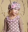 Mustard Pie Gretchen Hat in Pink and Tan Polka Dots