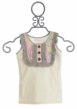 Mustard Pie Harper Tank for Girls in Sage Vanilla Cream with Lace (12Mos,2T,3T,4)