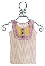 Mustard Pie Harper Tank for Girls Sweet Pink Chevron (12Mos,18Mos,24Mos)