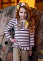 Mustard Pie Harper Tee Sage Brown Stripes for Little Girls