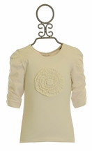 Mustard Pie Ivory Girls Top Fluerette