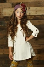 Mustard Pie Ivory Tunic Top for Girls