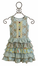 Mustard Pie Josephine Dress for Girls in Spa Blue (12Mos,18Mos,24Mos)