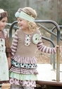 Mustard Pie Little Girls Dress in Josephine Rainbow