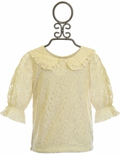 Mustard Pie Louise Lace Top for Girls in Ivory