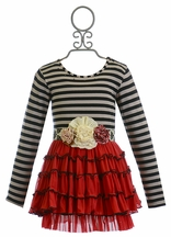 Mustard Pie Mia Tunic Striped Black and Red